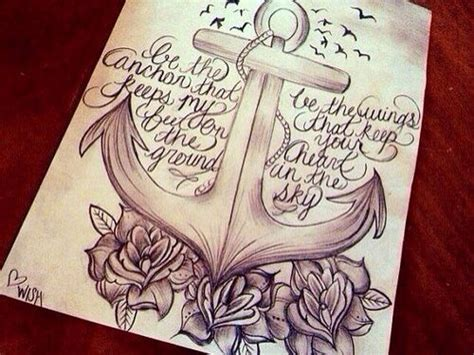 anchor roses quote drawing anchors symbolize strength