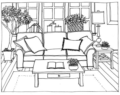 Pencil And In Color Drawn Living Room Detail Drawing