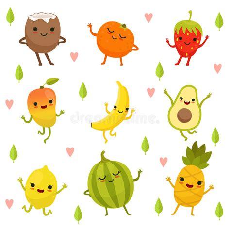 cuisine emotion emotion on fruits and vegetables vector