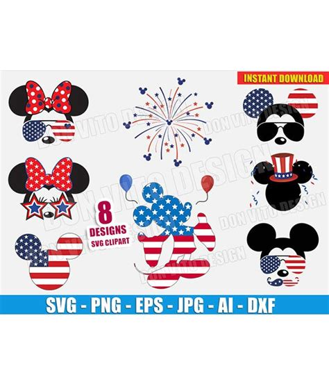 Svg dxf png and eps cut files for silhouette, cricut, card making, paper embosing, monogram frames, tshirt printing, paper cutting, diy crafts and more. Disney 4th of July USA Mickey Bundle (SVG dxf png) Minnie ...