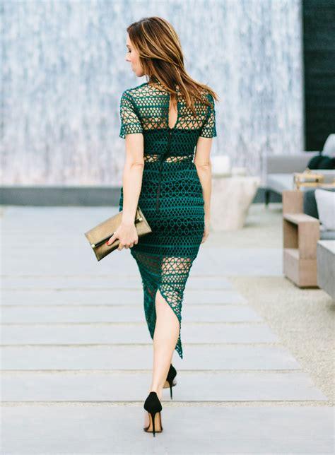 Sydne Summer wears a teal lace dress from self portrait on ...