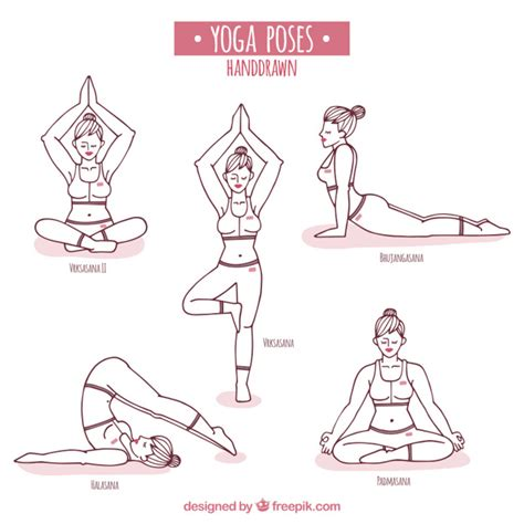 hand drawn yoga poses vector