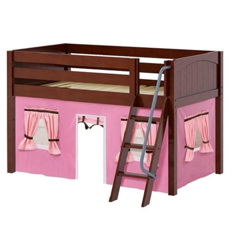 chestnut panel low loft bed with angle ladder curtains