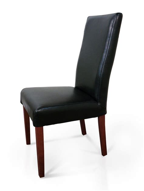 hamilton black leather dining chair jarrah high back ebay