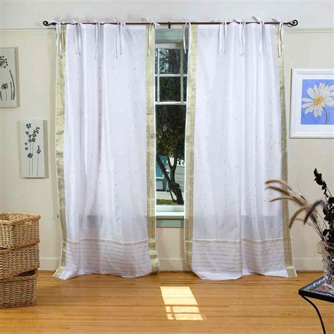 Gold And White Curtains Uk by White With Gold Tie Top Sheer Sari Curtain Drape Panel