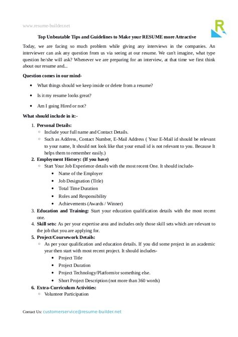 How To Make Your Resume More Attractive by Top Unbeatable Resume Tips And Guidelines To Make It More