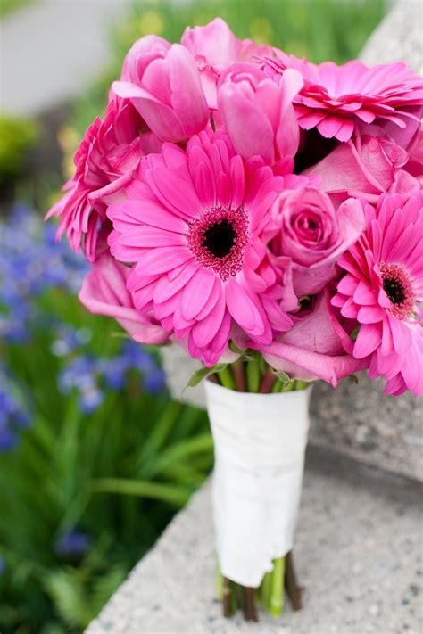 hot pink bridal bouquet gerbera daisies roses tulips
