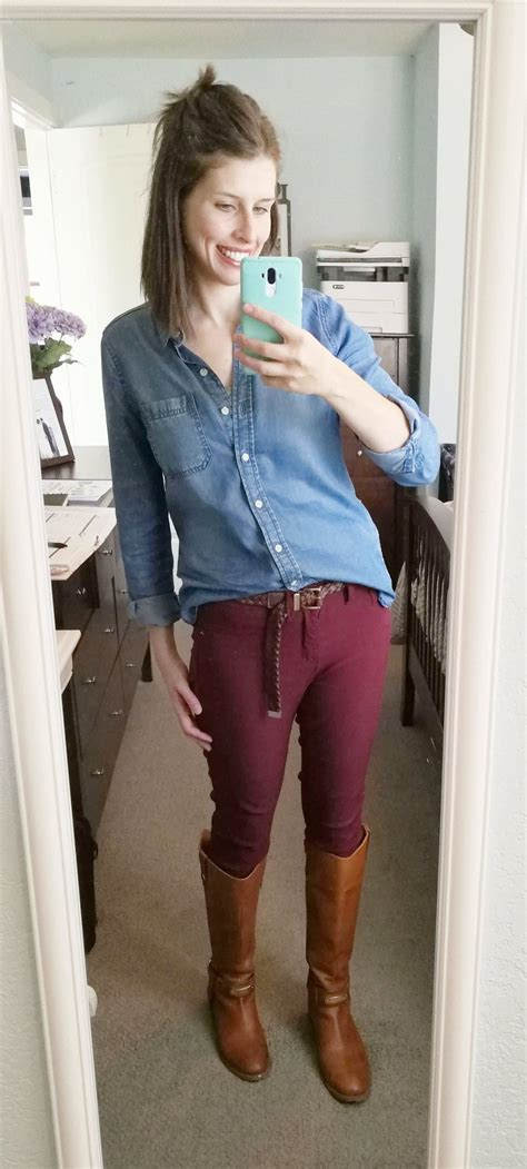 Momu0026#39;s Complete Guide to Styling Burgundy Pants (with free printable!) u2014 Frump Fighters | Easy ...