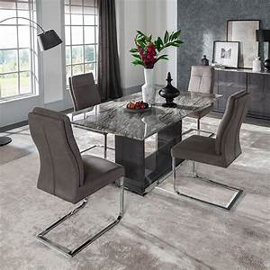 Rina, Grey, Marble, Dining, Table, Set