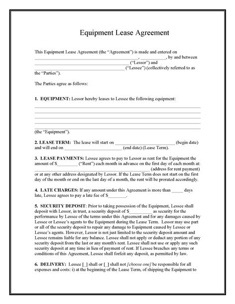 equipment lease agreement template  format