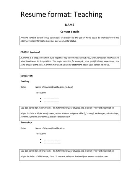 simple resume format  examples  word