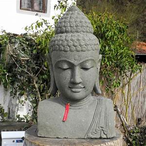 buddha buste garten figur gruner lava stein 100 cm terra With französischer balkon mit buddha figur garten 100 cm
