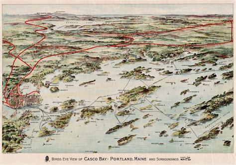1906 Maine Central Railroad birds-eye view of Casco Bay ...