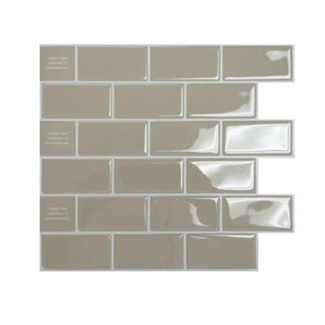 Peel And Stick Subway Tiles Home Depot by Smart Tiles 9 75 In X 10 96 In Peel And Stick Sand