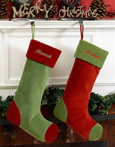 green and red velvet personalized stockings christmas