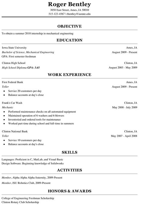 freshman college student resume sample cover