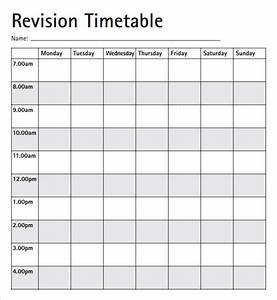Revision timetable template blank calendar template 2016 for Blank revision timetable template