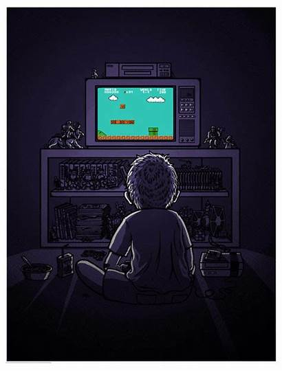 Retro Gamer Playing Kid Mario Bros Super