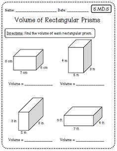 volume of rectangular prism worksheet volume worksheets