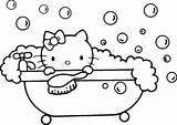 Coloring Pages Kitty Hello Colouring Bathtub Bath Bubble Shower Sheets Drawing Printable Bubbles Drawings Cute Christmas Designlooter Fresh Books Types sketch template
