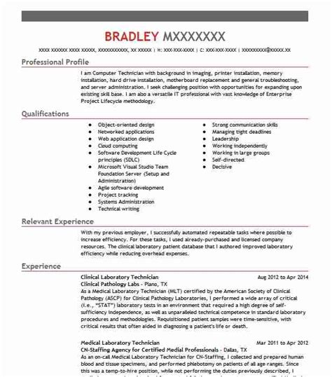 Laboratory Technician Resume by Clinical Laboratory Technician Resume Sle Livecareer