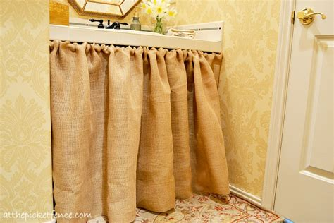 Burlap Utility Sink Skirt by Country Bathroom Makeover At The Picket Fence