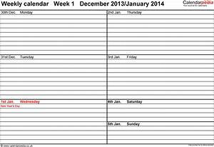 weekly calendar 2014 uk free printable templates for word With 3 day calendar template