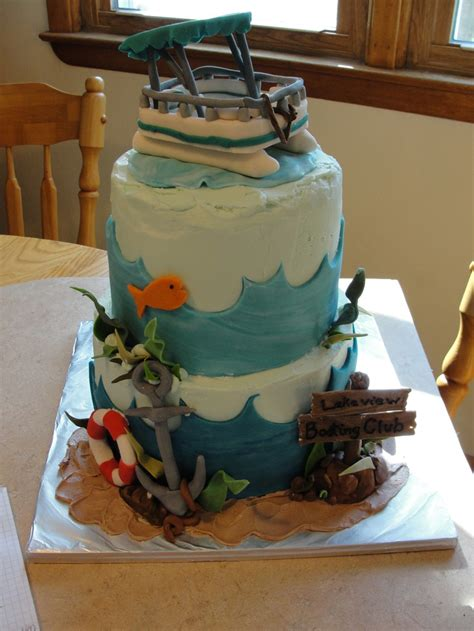 pontoon boat cake lake boating fishing anchor  tier  edible fondant gumpaste decorations