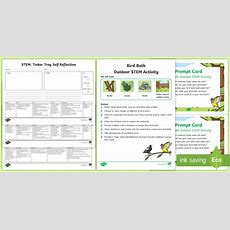 * New * Tinker Table Bird Bath Stem Activity And Prompt Card Pack