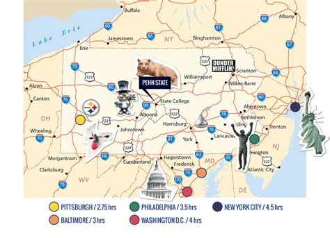 us east coast college map penn state location map