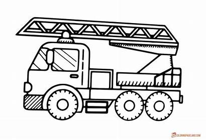 Fire Coloring Truck Simple Trucks Engine Pages