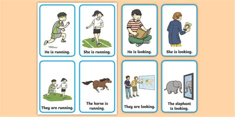 Verb Action Flash Cards Present Tense
