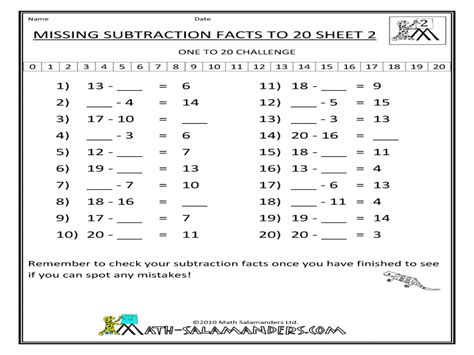 subtraction facts from 20 worksheets addition and