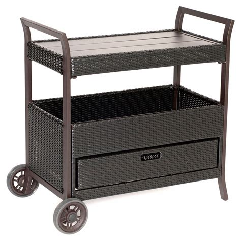 hanover wicker patio bar cart outdoor serving carts at