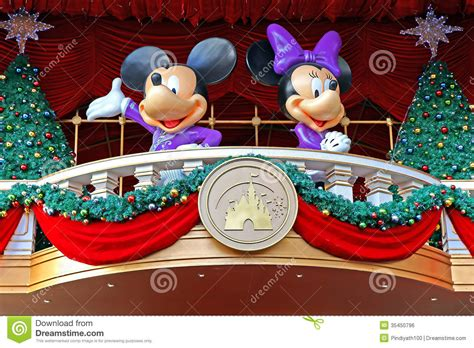 mickey  minnie mouse christmas decoration editorial