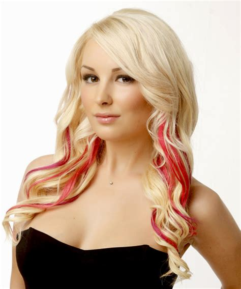 formal long wavy hairstyle  side swept bangs light
