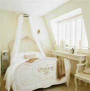 romantic white bed in french country style bedroom With french style bedroom decorating ideas