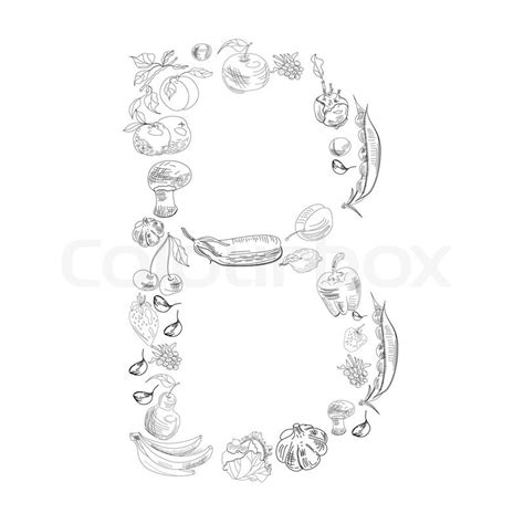 decorative letter b decorative font with fruit and vegetable letter b stock 15692