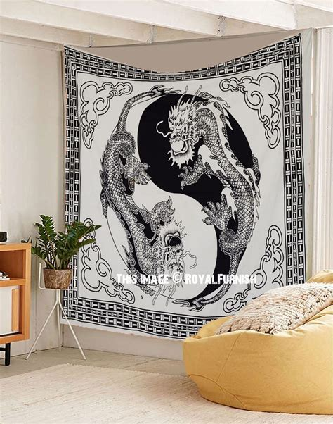black  white yin  chinese dragon fly tapestry wall