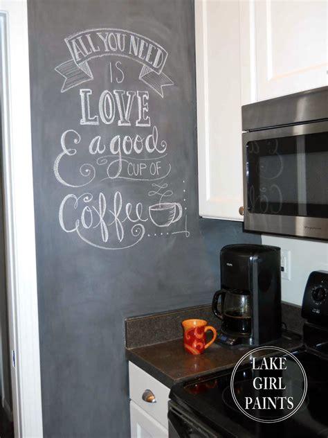 lake girl paints painting  kitchen wall  chalkboard