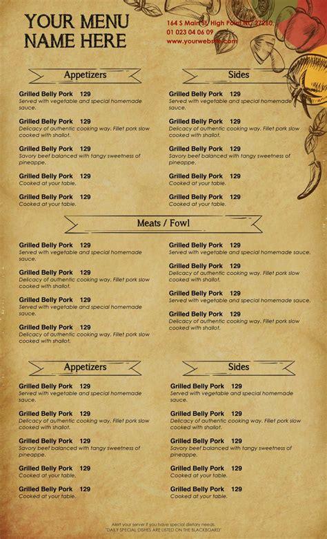 design templates menu templates wedding menu food