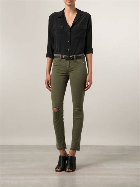 J Brand Ripped Knee Skinny Jeans in Green - Lyst