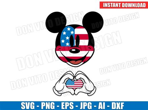 Download free svg files for your next diy project. Mickey Mouse 4th of July USA Flag Hands Heart (SVG dxf png ...