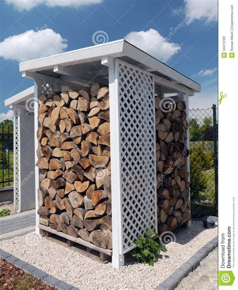 White Firewood Shed by Woodshed Stock Image Image Of Stacked Stack