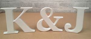 classic freestanding wooden letters kj painted white With freestanding wooden letters