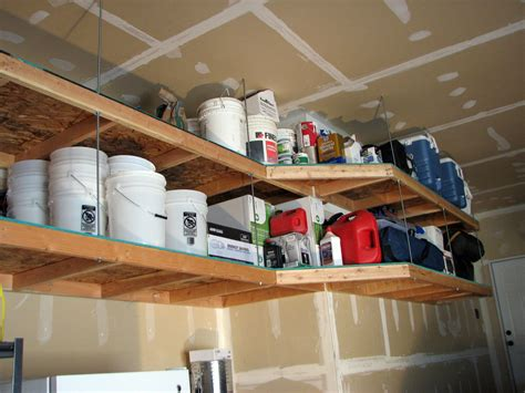 diy hanging wood shelves ceiling overhead storage ideas