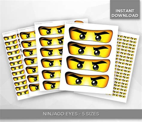 Printable set includes two pdf files with ninjago eyes in 4 different sizes. Make your party amazing with these Ninjago Eyes stickers! Youll recieve 1 PDF file (5 sizes ...