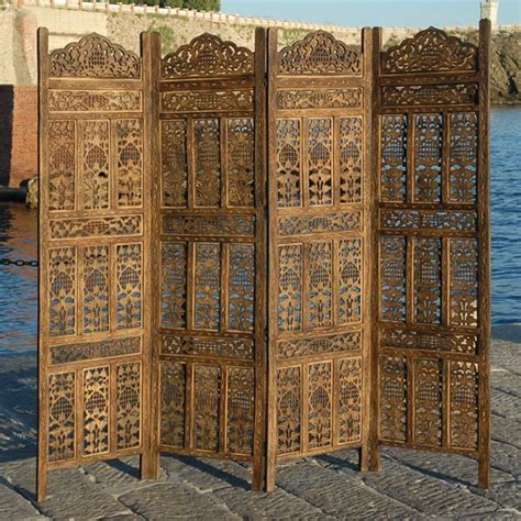 4 panel indian carved wooden screen room divider k ebay bedroom decor wooden screen