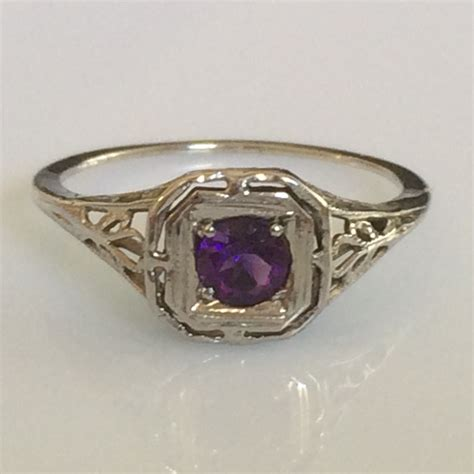 Deco Amethyst Ring by Deco Amethyst Ring In 14k White Gold Filigree Circa 1920