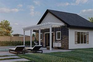 Plan, 62973dj, Poolhouse, With, Pergola, And, Full, Bath, In, 2021